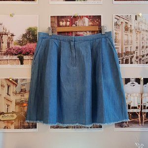 French Connection Pleated Chambray Mini Skirt